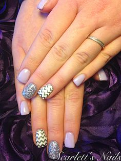 Lilac charcoal chevron silver glitter spring shellac gel nails