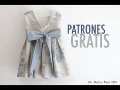 Free pattern & video tutorial - Oh, Mother Mine! Baby Frock Pattern, Frock Patterns, Baby Dress Patterns, Baby Clothes Patterns, Clothing Patterns, Baby Girl Skirts, Little Dresses, Little Girl Dresses, Simple Dress For Girl