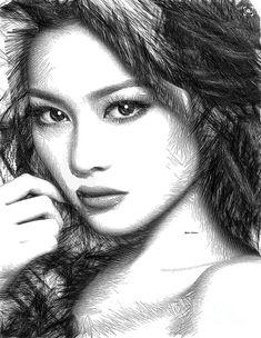 Rafael Salazar Digital Art - Female Sketch 1275 by Rafael Salazar