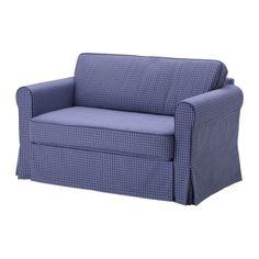 IKEA - HAGALUND, Sovesofa 2, Fruvik blå, , Opbevaringspladsen under sædet kan f.eks. bruges til sengetøj.Betrækket er nemt at holde rent, fordi det kan tages af og maskinvaskes.Er nem at folde ud til en seng.Lille og nem at finde plads til.
