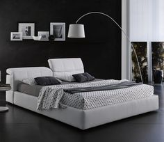 Tower Storage Bed in White Leather by J&M
