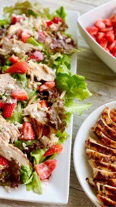Easy Summer Salads, Summer Salad Recipes, Chicken Salad Recipes, Healthy Salad Recipes, Salad Chicken, Roasted Chicken, Summer Healthy Meals, Summer Lunches, Vegetarian Salad