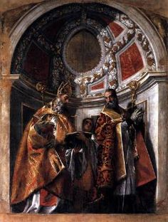 VERONESE, Paolo (b. 1528, Verona, d. 1588, Venezia)   Click!	 Sts Geminianus and Severus  c. 1560 Oil on canvas, 341 x 240 cm Galleria Estense, Modena  This painting once belonged to the decorations of the organ in the church of San Geminiano in Venice, destroyed by Napoleon in 1807. In keeping with its function, it was once split down the middle. When closed, the two wings covered the pipes of the organ. When opened, they revealed St John on the left and St Mennas on the right.