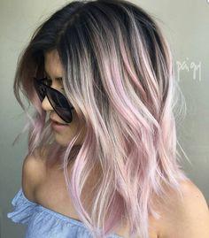 Dyed hair care Tips - 45 Beautiful and FussFree Soft Shag Lobs Medium Short Hair, Medium Hair Styles, Short Hair Styles, Grunge Hair, Pretty Hairstyles, Bob Hairstyle, Latest Hairstyles, Balayage Hair, Blonde Pink Balayage