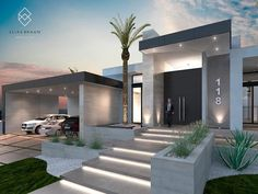 Find home projects from professionals for ideas & inspiration. Residencia 118 by Elias Braun Architecture House Front Design, Modern House Design, Villa Design, Modern Front Yard, Modern House Facades, Modern Houses, Luxury Homes Dream Houses, Dream House Exterior, House Entrance