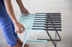The stool for use alone or intermixed with others to transform into modular bench.