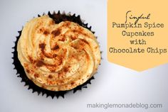 shhhhh... it's from a box of chocolate cake mix! Pumpkin Spice Cupcakes with Chocolate Chips (easy chocolate cupcakes, only add a few ingredients!)