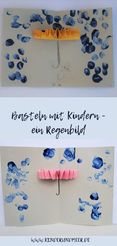 Handicraft tip - a simple rain picture not only for rainy days - children and sea - DIY Projekte Kids Crafts, Diy Home Crafts, Easy Crafts, Easy Diy, Craft Projects, Garden Projects, Decor Crafts, Diy Niños Manualidades, Rain Pictures