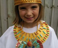 More paperboard + macaroni Egyptian accessories Ancient Egyptian costume with headband and necklaces