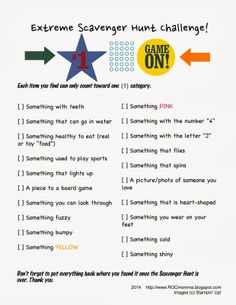 indoor scavenger hunt for kids Free printable Scavenger Hunts; Three Easy, No-Prep, Super-Fun Scavenger Hunts by ROCmomma Scavenger Hunt Riddles, Photo Scavenger Hunt, Scavenger Hunt For Kids, Physical Activities For Kids, Indoor Activities, Games For Kids, Family Activities, Summer Activities, Physical Education