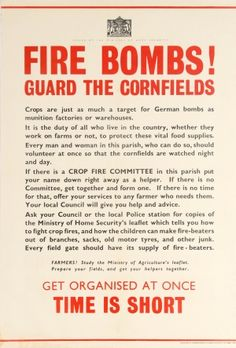 Fire Bombs Guard The Cornfield WWII, 1940s - original vintage poster listed on…