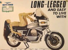 Long-legged and easy to live with Moto Guzzi, Guzzi V7, Women Riding Motorcycles, Vintage Motorcycles, Indian Motorcycles, Mv Agusta, Ducati, Motorcycle Manufacturers, Motorcycle Posters