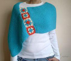 Turquoise Afghan Boho Knitted Poncho...69$