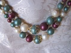 Double strand of blue plum cream Japan graduated beads Necklace
