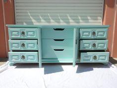 Hollywood Regency 9 Drawer Dresser in Tiffany Box Blue (Los Angeles)