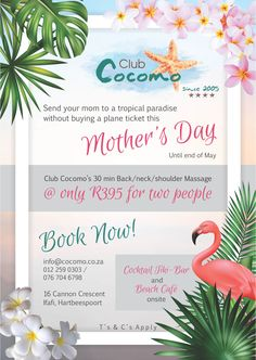 Give your mom the gift of relaxation at Club Cocomo's Tropical paradise with a back, neck and shoulder massage @ for 2 people. Shoulder Massage, Tropical Paradise, Place Card Holders, Club, Table Decorations, Mom, People, Gifts, Presents