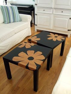 Weekend Project Ideas: 10 Power Tool-Free IKEA Hacks to Try IKEA LACK Tables get a graphic make over on Crafty Nest using bamboo veneer.