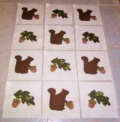 "Set of 12  Squirrels w/Leaves & Acorns Applique 6"" x 6"" Quilt  Blocks   #Unbranded"
