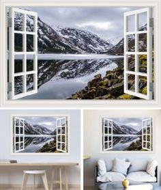 Decal Wall Sticker Nature Landscape Wallpaper Window View Vinyl Home Decoration Nature Landscape, Landscape Walls, Landscape Wallpaper, Nature Wallpaper, Wall Stickers Alphabet, Alphabet Wall, Window Decals, Wall Decals, Snow Mountain