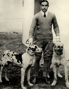 Rudolph Valentino and two of his beloved dogs, 1920's