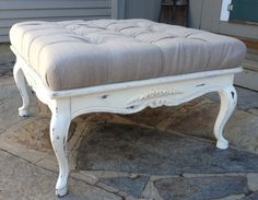 french country ottoman furniture | Vintage Painted French Ottoman Coffee Table in Tufted Linen