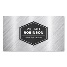 Stylish Silver Look in Brushed Metal Business Card Template. This great business card design is available for customization. All text style, colors, sizes can be modified to fit your needs. Just click the image to learn more! Metal Business Cards, Business Card Design, Michael Robinson, Company Profile Design, Construction Business Cards, Text Style, Brushed Metal, Logo Design, Stylish