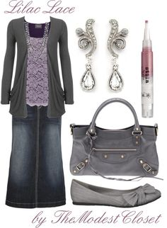 """""""Lilac Lace"""" by themodestcloset ❤ liked on Polyvore. Long jean skirt. Purple. Cute outfit with flats. Fall2013"""