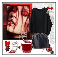 """""""Embroidered Faux Leather Miniskirt"""" by carola-corana ❤ liked on Polyvore featuring Sony and Anja"""