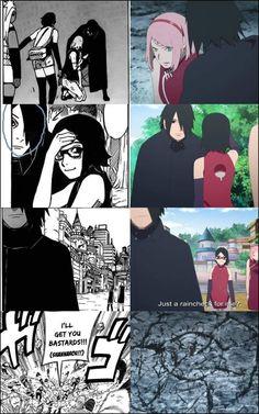 Manga VS Anime ❤️ The Goodbye of Sasuke to Sarada and Sakura ❤️❤️❤️