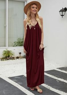 Burgundy maxi dress with pockets. Soft cotton & polyester material - stretchy. Looks cute with gold accessories, nude sandals, and a hat.