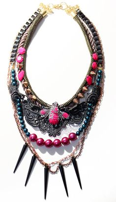 Anthropodis, Neon Statement Necklace, insect rhinestone with lace, rope, spikes and draping chains, OOAK costume jewelry