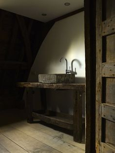 stone sink, old wood door, floor and furniture
