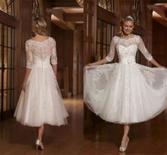 Sheath Applique 3/4 Sleeve A Line Wedding Dress Tea Length Vintage Bridal Gowns