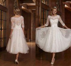 Sheath Applique 3/4 Sleeve A Line Wedding Dress Tea Length Vintage Bridal Gowns $135 eBay