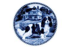 Danish Blue Plate: Cavalier King Charles Spaniel (Tri)