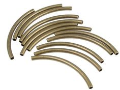 18 Antique Brass Tube Beads Curved Tubes Noodle Beads 2mm x 40mm Solid Brass Beads Bronze Beads (FSA