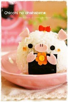 Pig Rice ball, gotta make these. Cute Bento Boxes, Bento Box Lunch, Bento Recipes, Lunch Box Recipes, Japanese Food Art, Japanese Lunch, Onigirazu, Sushi, Kawaii Bento