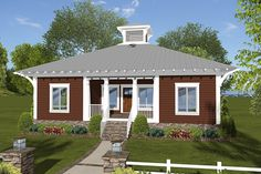 Craftsman.  Love this plan!  Seems so cute and cozy and open at the same time.  Two bedrooms plus flex room (Mary Kay studio).  Just big enough for two.