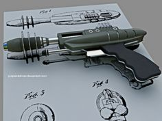 Ray gun built based on technical plans. Steampunk Weapons, Sci Fi Weapons, Concept Weapons, Fantasy Weapons, Retro Futuristic, Futuristic Technology, Anubis, Retro Robot, Vintage Space