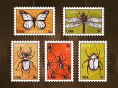 Buy Postage Stamps With Insects Sketch by macrovector on GraphicRiver. Set of postage stamps with insects drawn in sketch style on wooden background poster vector illustration. Buy Postage Stamps, Postage Stamp Design, Printable Stickers, Cute Stickers, Scrapbook Vintage, Gift Voucher Design, Mail Art Envelopes, Decoupage Vintage, Vintage Stamps