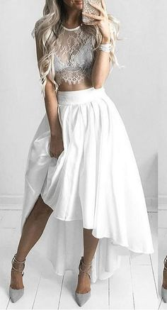 White Two Piece Lace Homecoming Dresses Cap Sleeve #Short Homecoming Dress #HomecomingDresses #Short PromDresses #Short CocktailDresses #HomecomingDresses