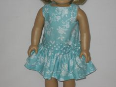 American Girl Doll Clothes - Aqua Drop-Waist Dress. $15.00, via Etsy.