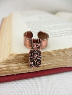 Recycled copper pipe charm ring