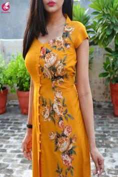 Buy Mustard Modal Rayon Cap Sleeves Patch Work Kurti Online in India Long Kurta Designs, Simple Kurti Designs, Stylish Dress Designs, Kurta Designs Women, Salwar Designs, Kurti Designs Party Wear, Collar Kurti Design, Kurti Sleeves Design, Kurta Neck Design