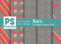 Valentine Hearts Pattern (Grey) by PixelaitStu on @creativemarket