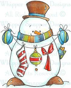 Snowman's Garland - Snowmen Images - Snowmen - Rubber Stamps