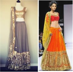 Here is a Studio East6 lehenga created by the design offices of Preeti S. Kapoor! Our piece is very similar to the original which walked down the runway for Lakmé Fashion Week, but was specifically created in a more subdued color combo of slate grey & gold!