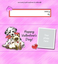 FREE PRINTABLE CANDY BAR WRAPPER for Valentine's Day features cute puppy & kitty (fits 1.55 oz. bar), ready to personalize with your PHOTO and message.