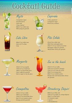 For all of you who have been dreaming of a cool drink under the hot sun, with the sea waves splashing on your feet, all winter long. A printable, Cocktail Guide of the most popular summer drinks, to…More Put a twinkle to your occasion utilizing a variet Alcohol Drink Recipes, Tiki Drink Recipe, Fruity Alcohol Drinks, Alcholic Drinks, Classic Cocktails, Easy Cocktails, Names Of Cocktails, How To Make Cocktails, Simple Cocktail Recipes