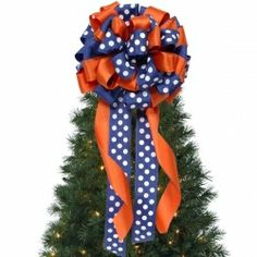 Orange and Blue Ribbon Bow. Great for Christmas or anytime!   Auburn University Tigers, War Eagle!
